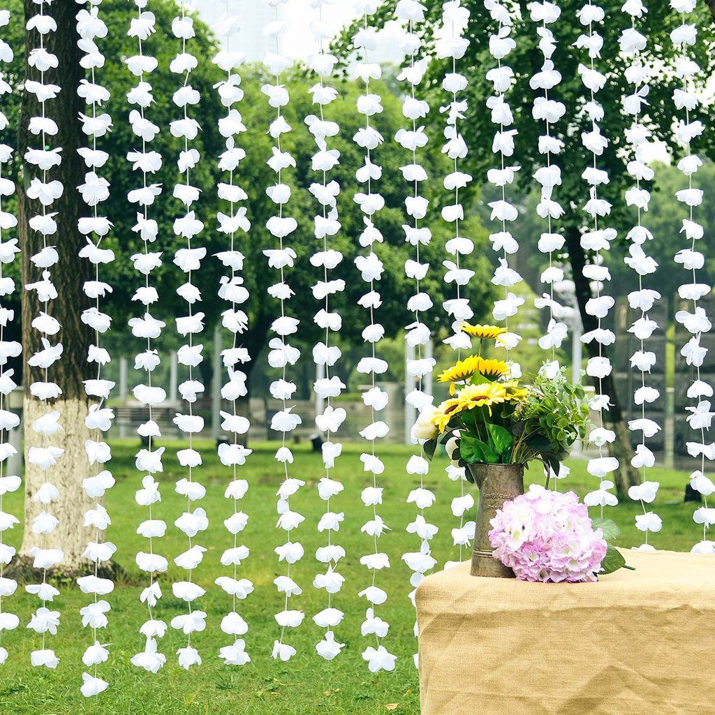 6ft White Silk Hanging Flower Garland Backdrop Curtain In 2020 Flower Garland Wedding Flower Garlands Hanging Flowers