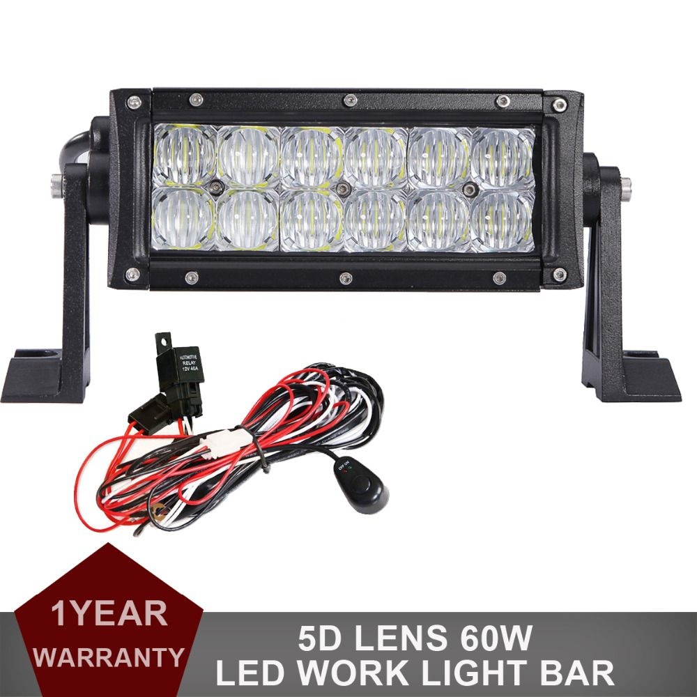 8 5d 60w Offroad Led Work Light Bar 12v 24v Car Truck Auto Atv Pickup 4wd 4x4 Ute Van Camper Wagon Driving Headlight Fog Led Work Light Car Lights Offroad Led