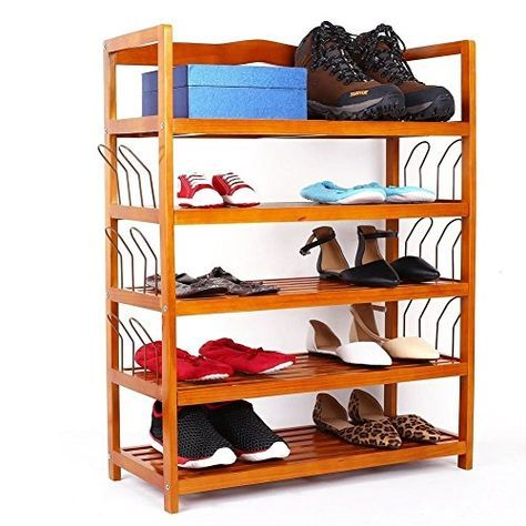 Home Shoes Organizer Portable Cabinet for 18 Pairs Home Flat 2 Doors 6 Shelves