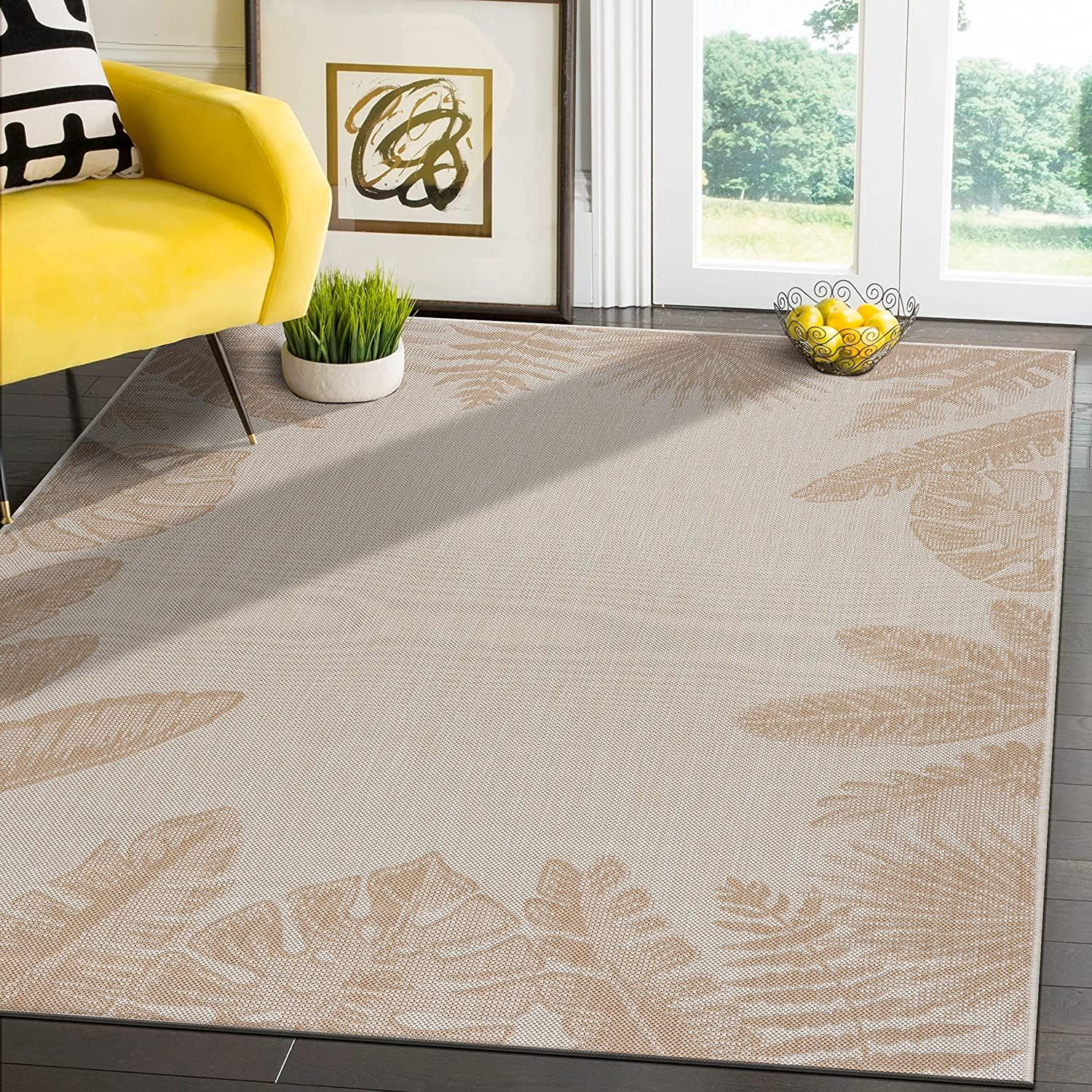 Modern Exotic Tropical Leaf Area Rugs for Indoor Outdoor   Beige / White   8x10 Gallery