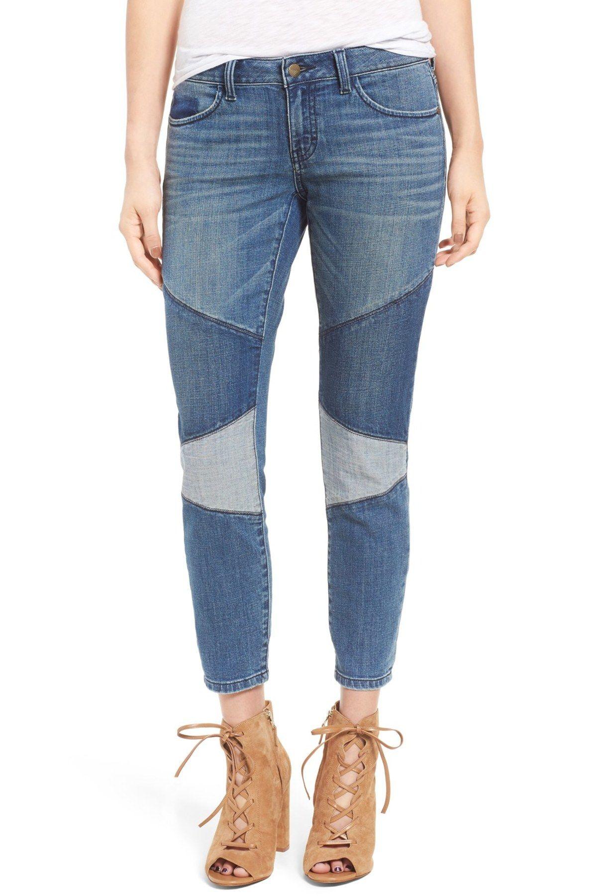 Patchwork Crop Skinny Jeans (Tinted Blue Bird)