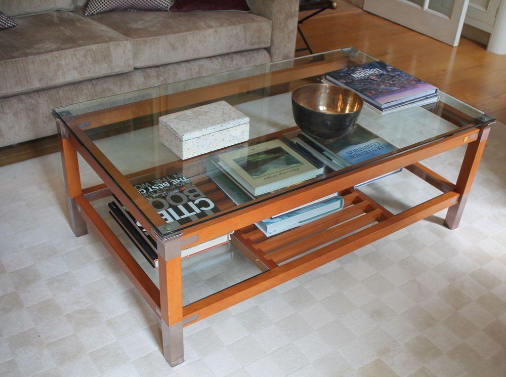 Designer coffee table by pierre vandel france solid wood