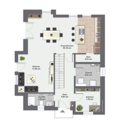 Fertighaus grundrisse einfamilienhaus  Fertighaus Finkenberg - Erdgeschoss   Haus   Pinterest ...