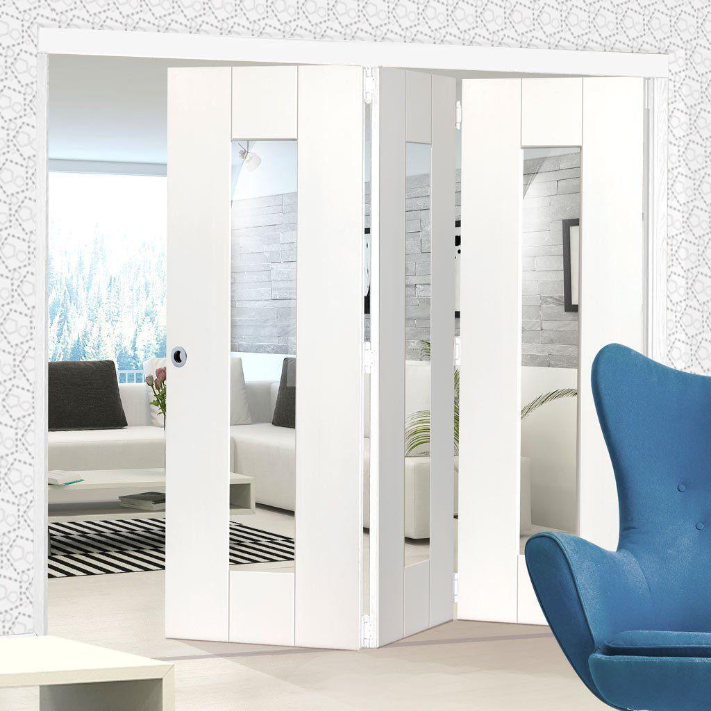 Thrufold axis white folding door clear glass glazeddoor