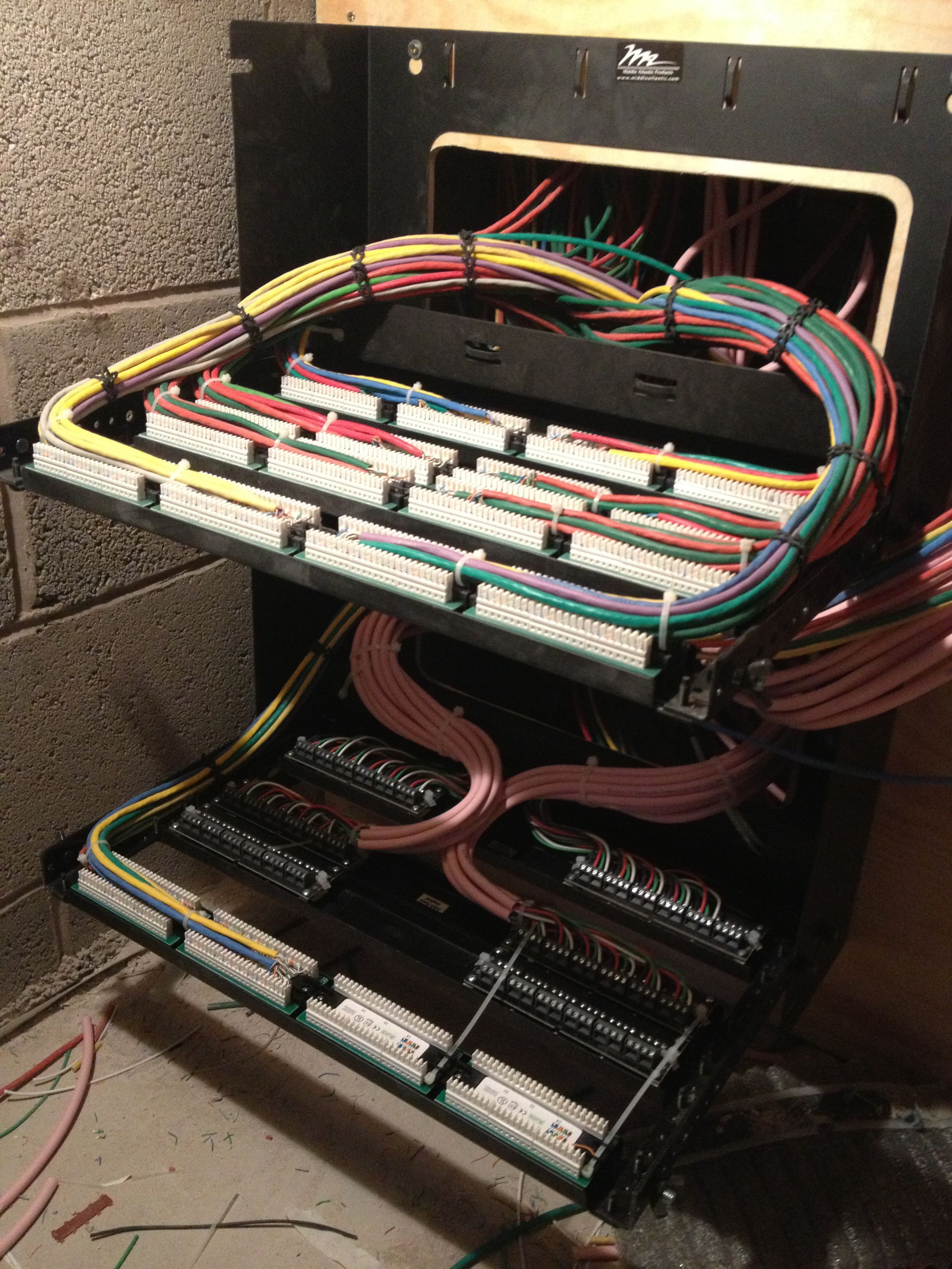 Completed CAT5e and speaker cable panels in service position ...