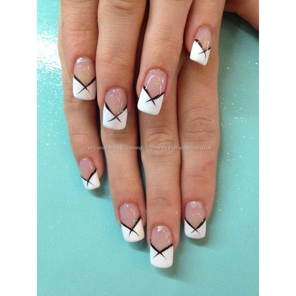 White French tips with black flick nail art by Elaine Moore on 24 ...