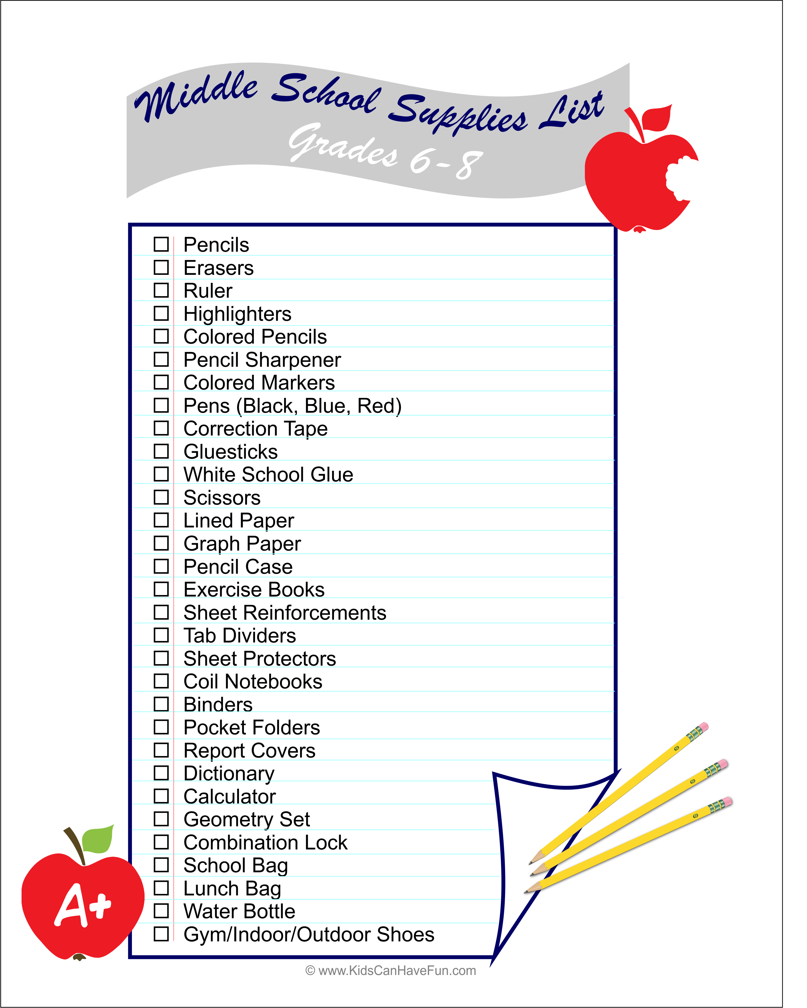 Middle School 7 8 Supplies List To Get Ready For Back To
