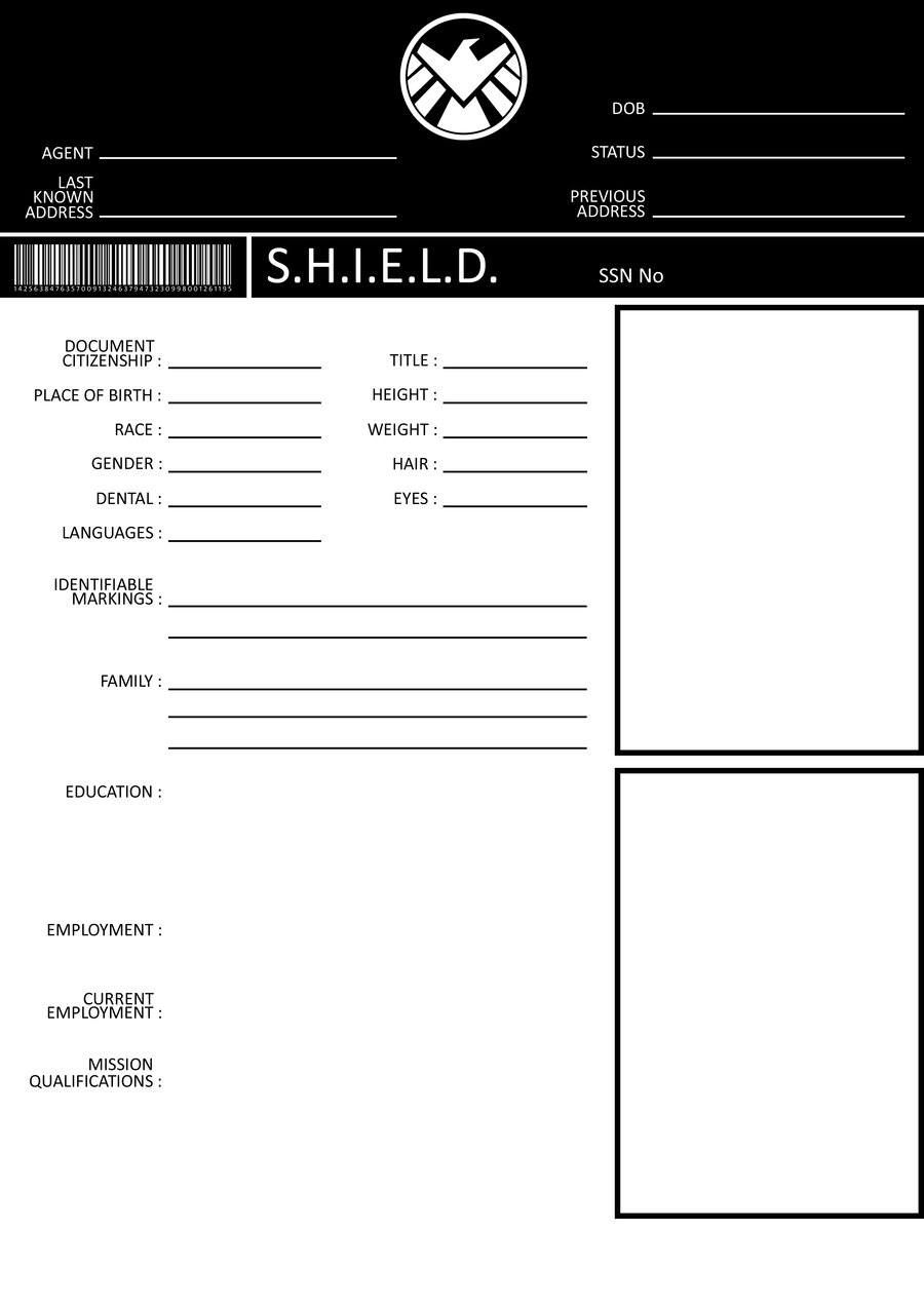 SHIELD Application Form  Marvel Agents Of Shield And Agent