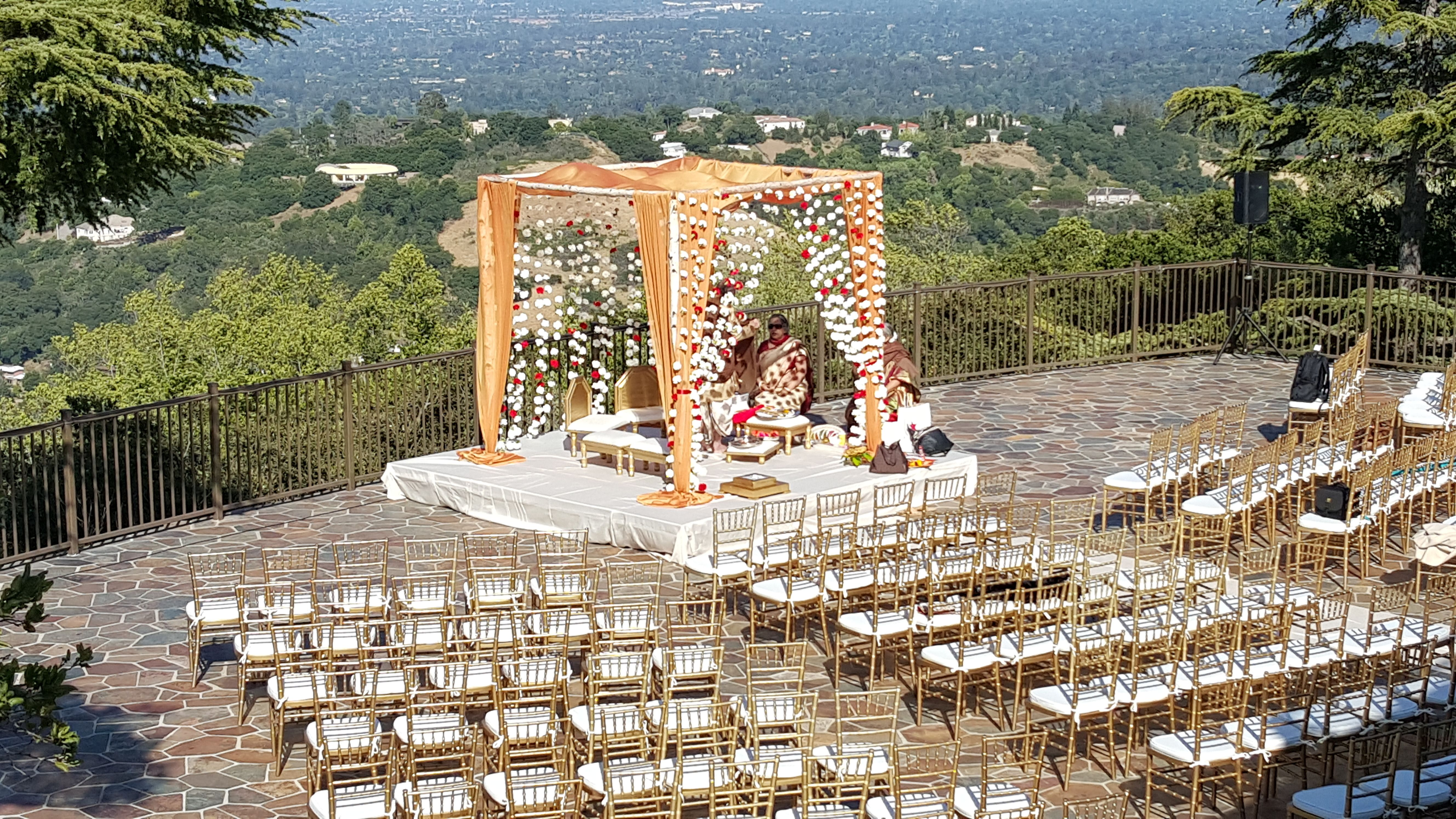 Elegantly staged with Gold Chiavari Chairs and breathtaking views