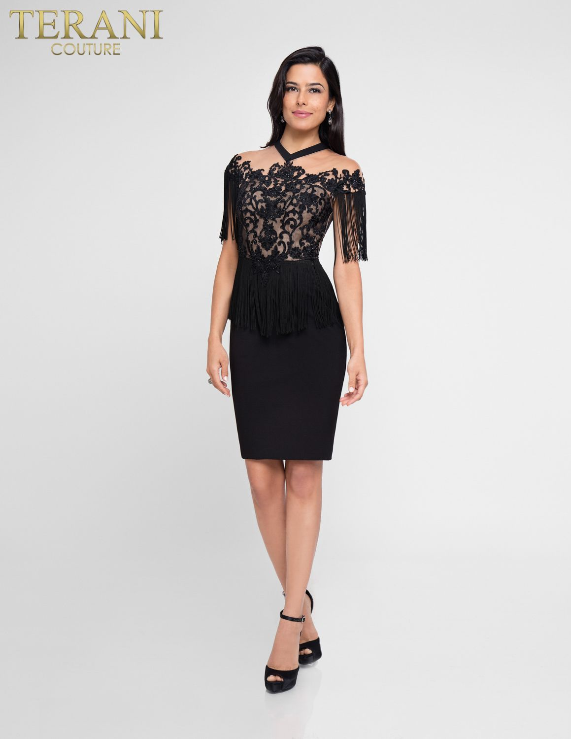 Form Flattering Tail Dress With Beaded Embroidery And Fringe Detail