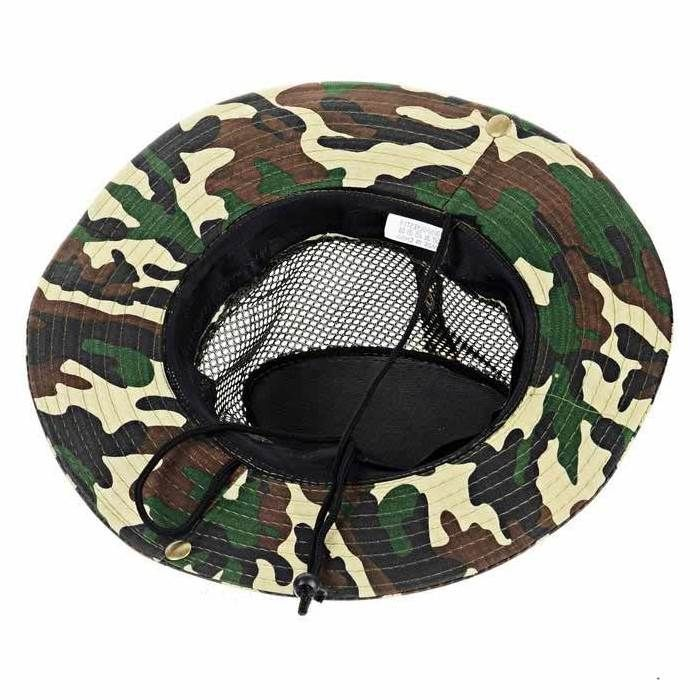 a436af8a918 Military Camo Bucket Hat with Strings Camping Hiking Travel Sniper Wide  Brim Boonie Hat