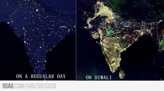 Satellite Image of India during Diwali | Be Inspired! East