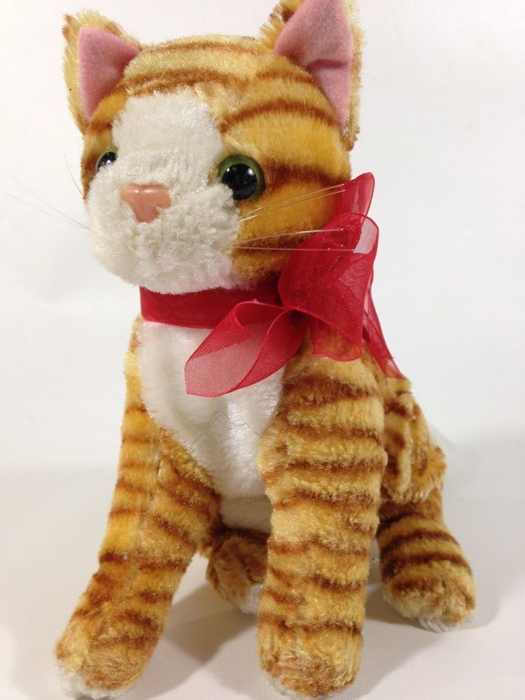 Orange Tabby Cat Plush Kitty Kitten Sitting Stuffed Animal Bean Bag