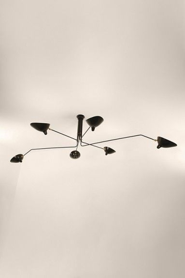 Image of Serge Mouille Style 6 Arm Ceiling Lamp Plafonnier 6 Bras