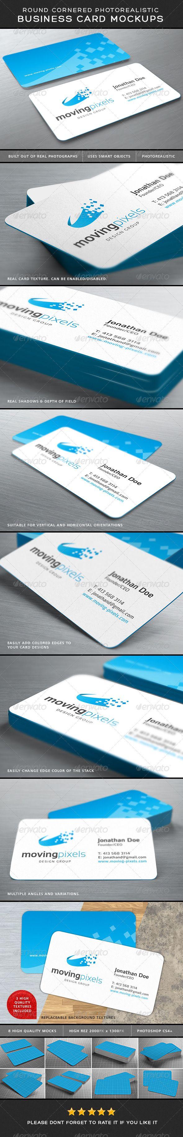 photorealistic business card mockup round corners mockup and