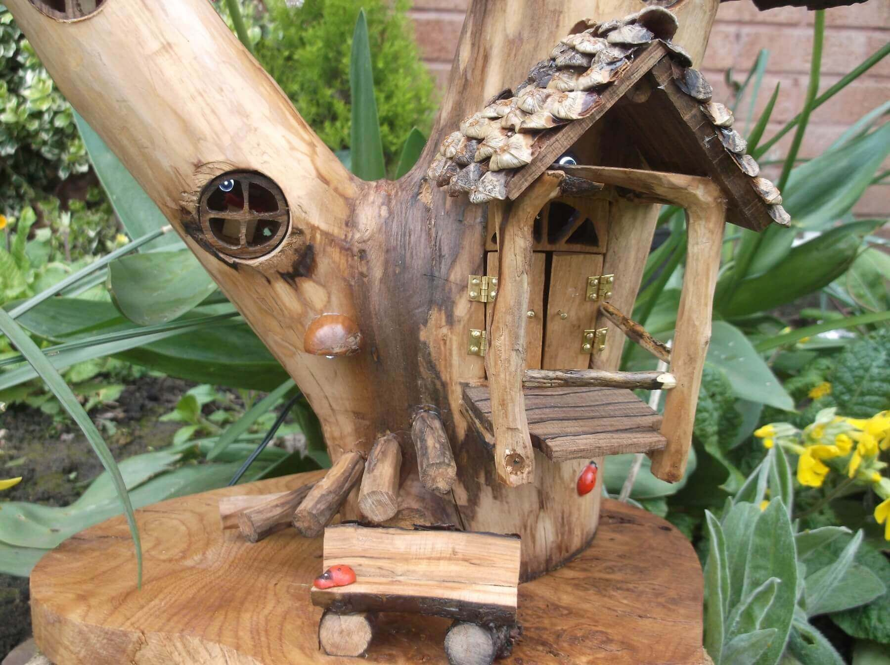 Pixie porch outdoor ready pixie house with solar powered for Outside house ornaments