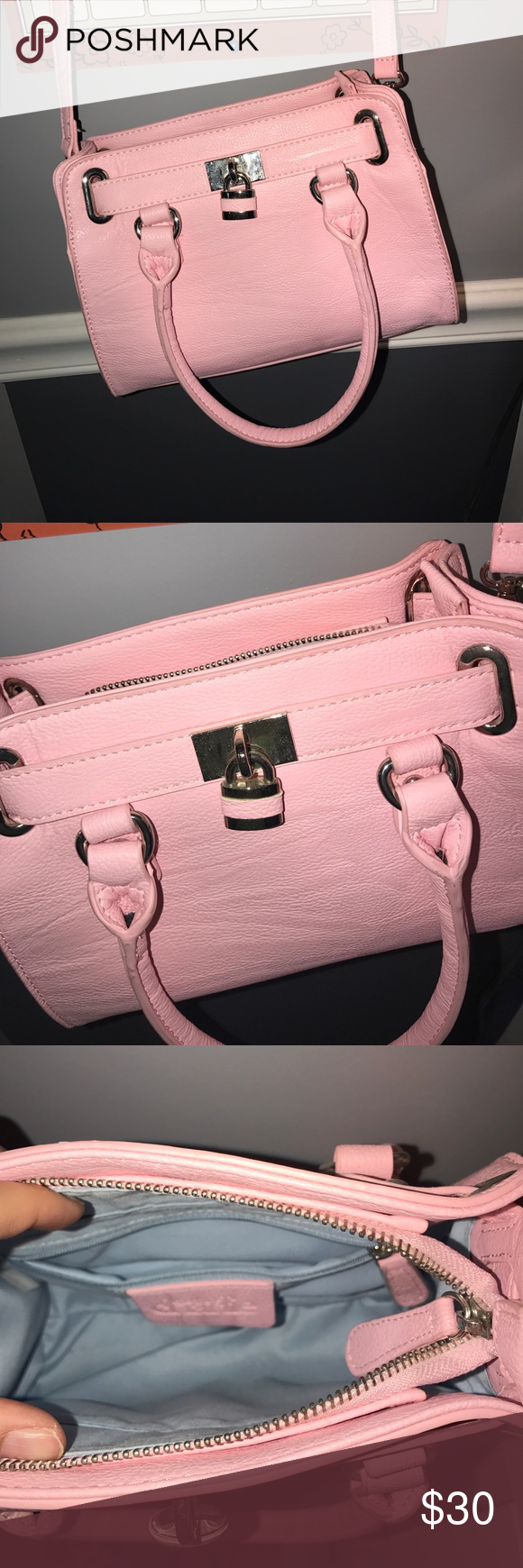 Crossbody pink purse from Charming Charlie's Pink crossbody purse from Charming Charlie's. Comes with the crossbody strap that can also unhook so you can use it as a regular purse. Used ONCE ! Charming Charlie Bags Crossbody Bags