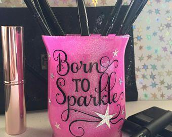 porta spazzola trucco glitter makeup artist brush cup