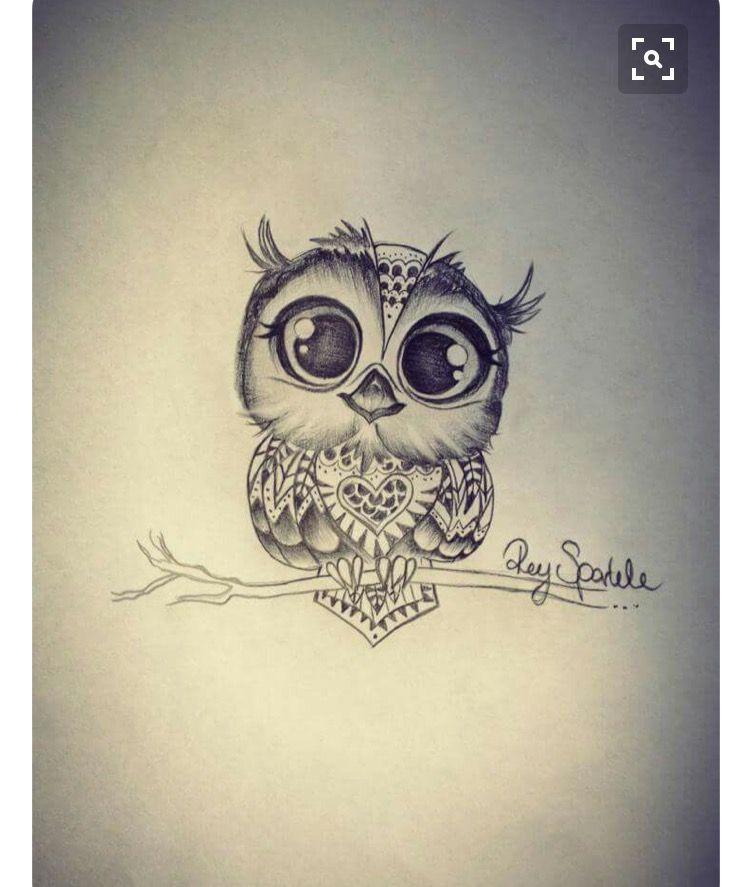 Simple Minimalist Owl Tattoo: I Like The Eyes On This One.