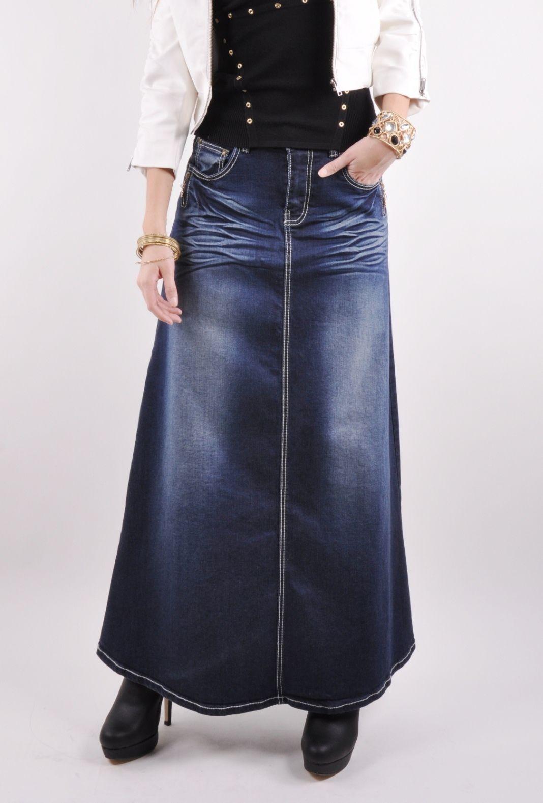 Twilight Diva Long Jean Skirt