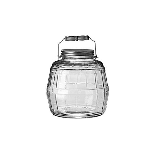 Anchor Hocking 85728ahg17 1 Gallon Barrel Jar With Brushed Aluminum