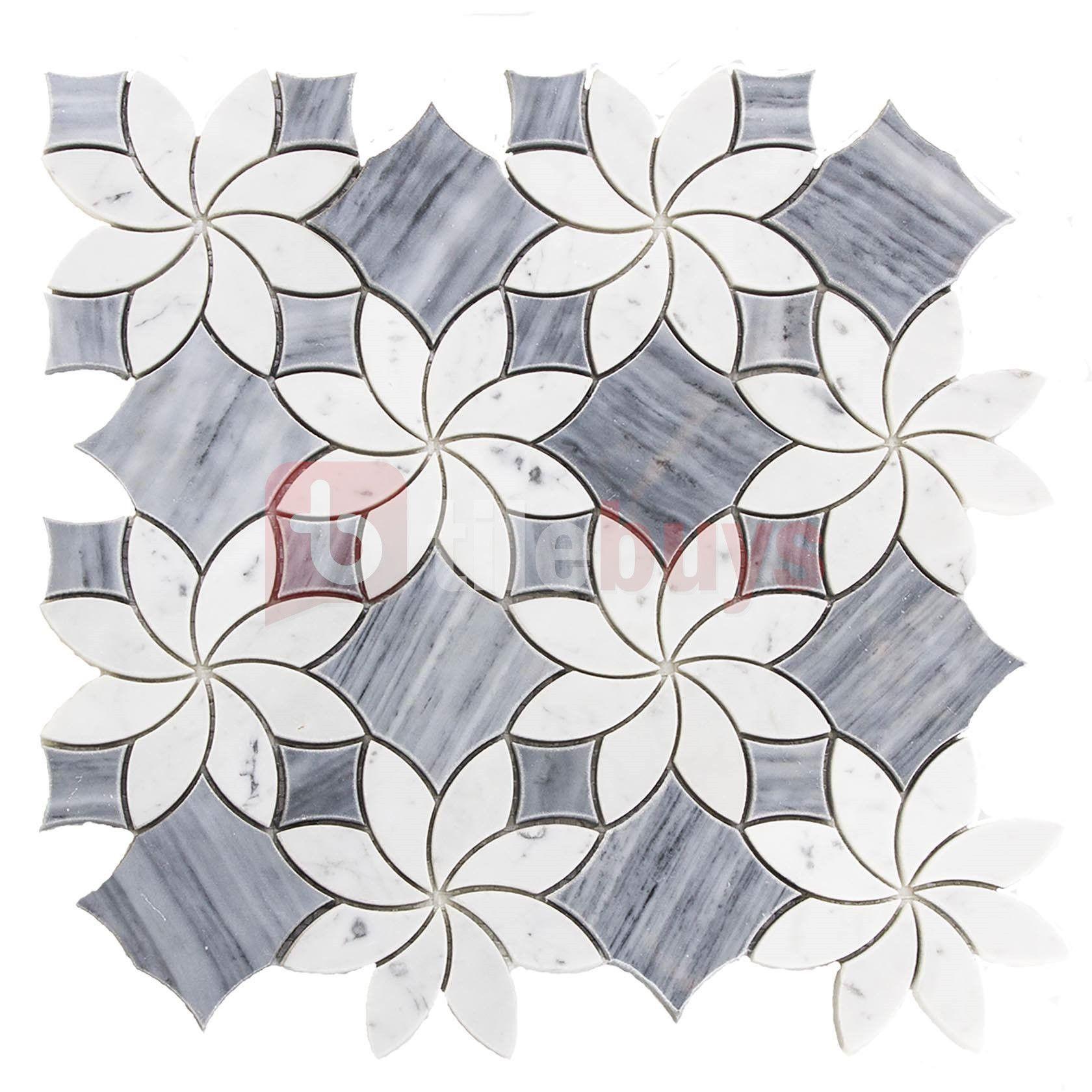 Bardiglio Grey Carrara White Marble Floral Design Tile