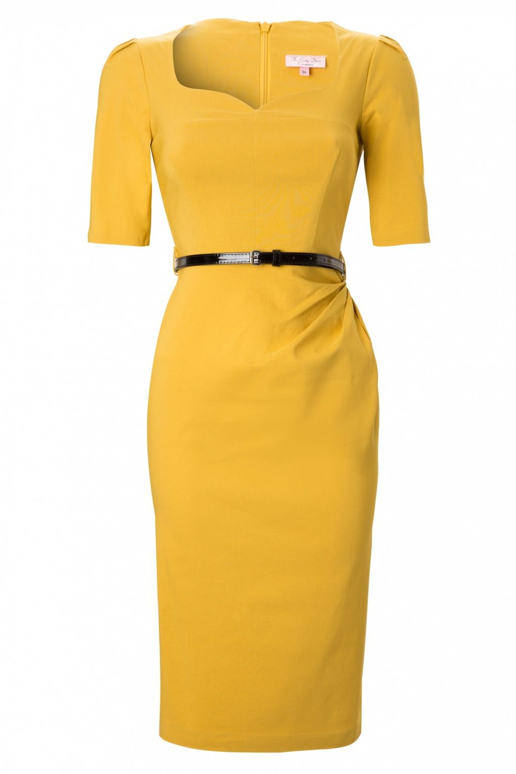 #Topvintage#So Couture - Charlotte Sweetheart Pencil dress in Mustard 1/2 sleeve