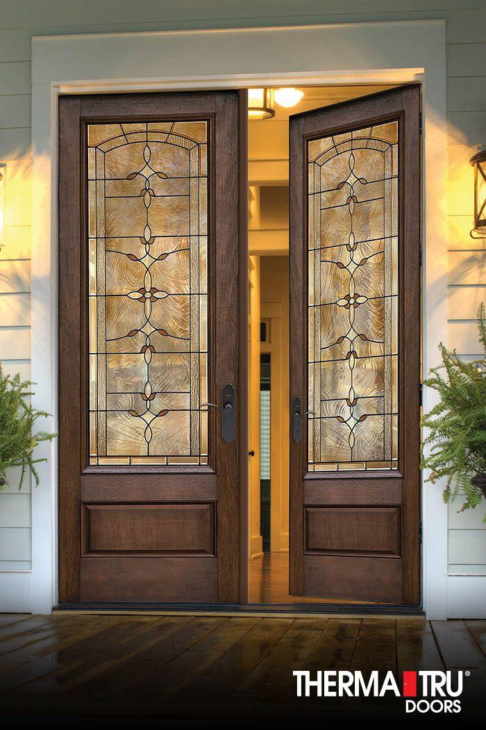 3 4 Lite 1 Panel Fiberglass Exterior Door With Decorative Glass By Therma Tru Fiberglass Exterior Doors Fiberglass Entry Doors Entry Doors