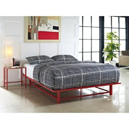 Parsons Queen Metal Ledge Platform Bed Red Platform Bed Cheap