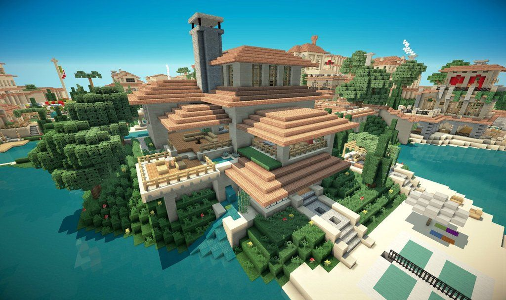 Minecraft italian villa mega city pinterest for Minecraft modernes haus download 1 7 2