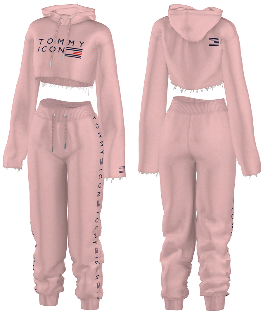 Photo of EANSims — Cropped Cut-Off Hoodie &Jogger Pants Female,…