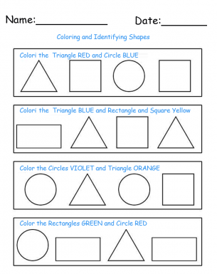 Identify and Color Shapes Printable Worksheets. Repin and share in ...