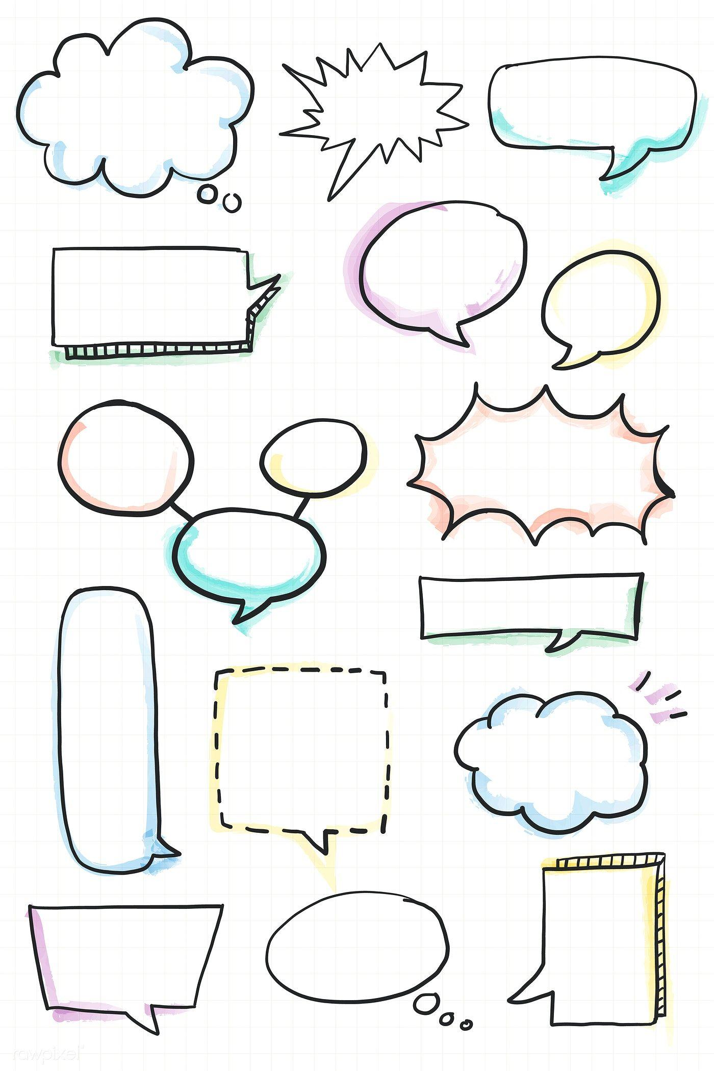 Download premium vector of Hand drawn speech bubble doodle element vector