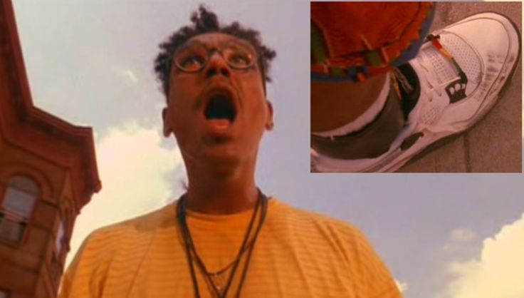 97851205f543b0 Buggin  Out  bugging out  at his scuffed jordans. Do the Right Thing  (1989). Nike Air Jordan IV (4)