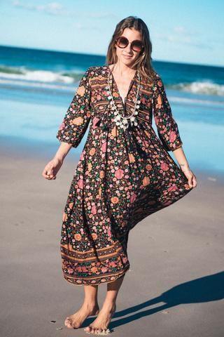 7f07d6c5bc DO AS 51050501- NO EMB 2 CORD TASSELS Folk Town Boho Maxi Dress ...