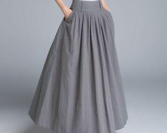 270ff4ac1 Falda gris oscurezca, falda de lino, falda, falda swing, falda larga ...