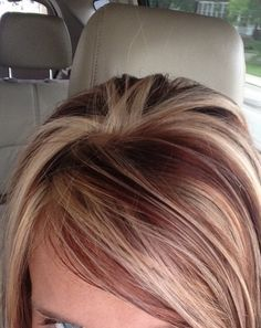 Short Hair With White Blonde And Red Highlights Google Search