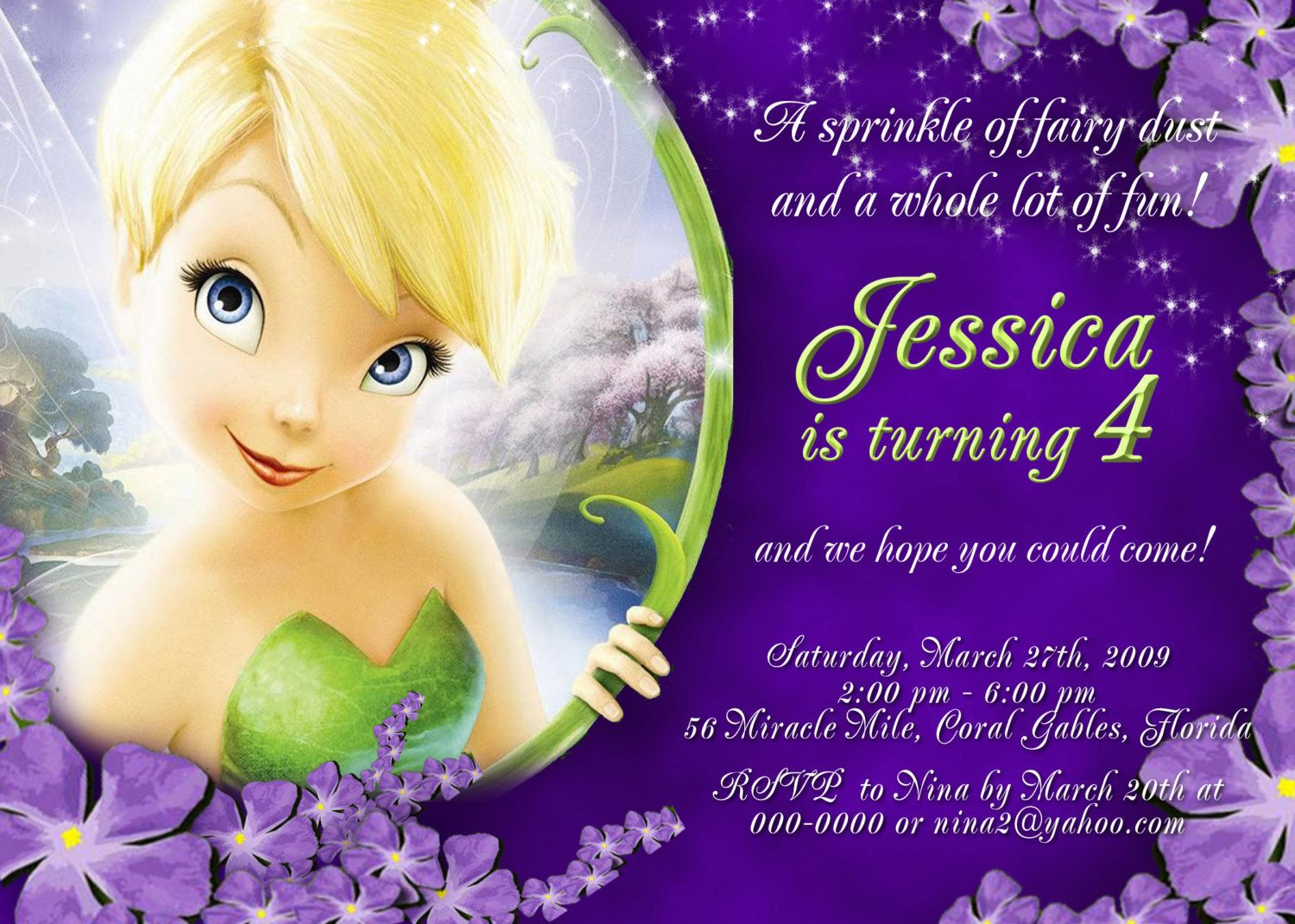 Tinkerbell Invitation For Disney Fairies Birthday Party Tink Tinker