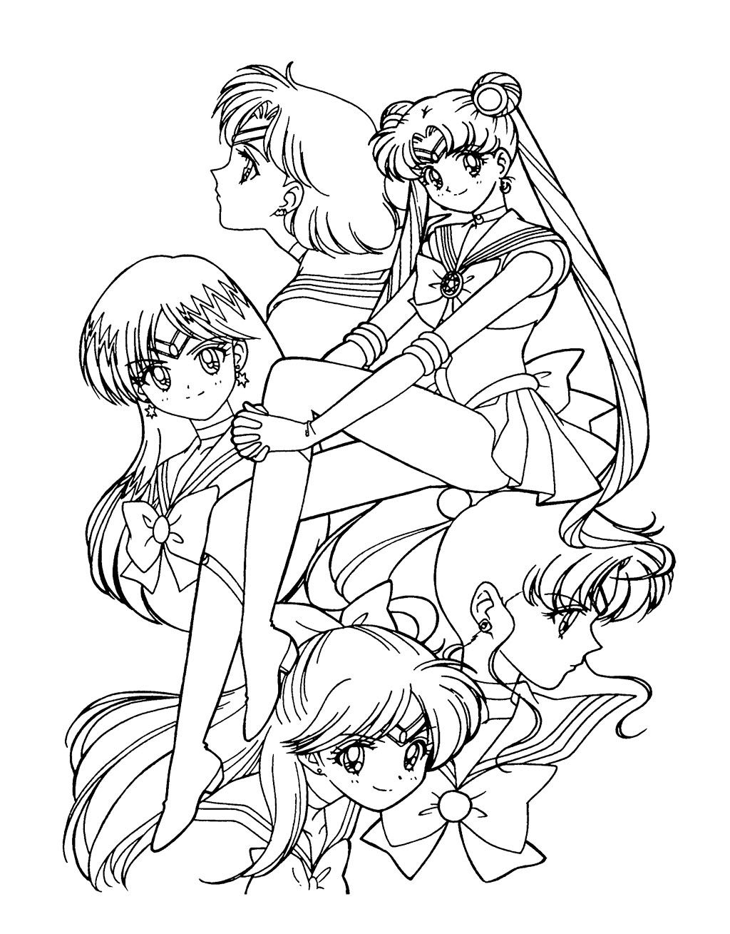Sailor Moon Was Sitting With Sweet Coloring Page For Kids ...