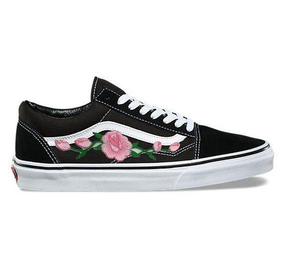 2da8d6a5f3c4b Rose Buds (Pink) Custom Embroidered Vans Old Skool Skate Shoe (NEW ...