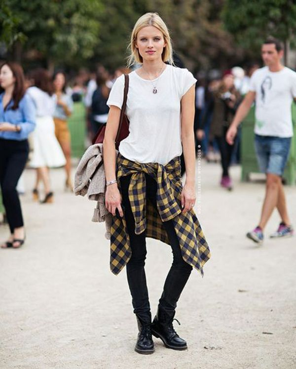 Modelo Street Style Grunge Camisa Amarrada Calça Skinny