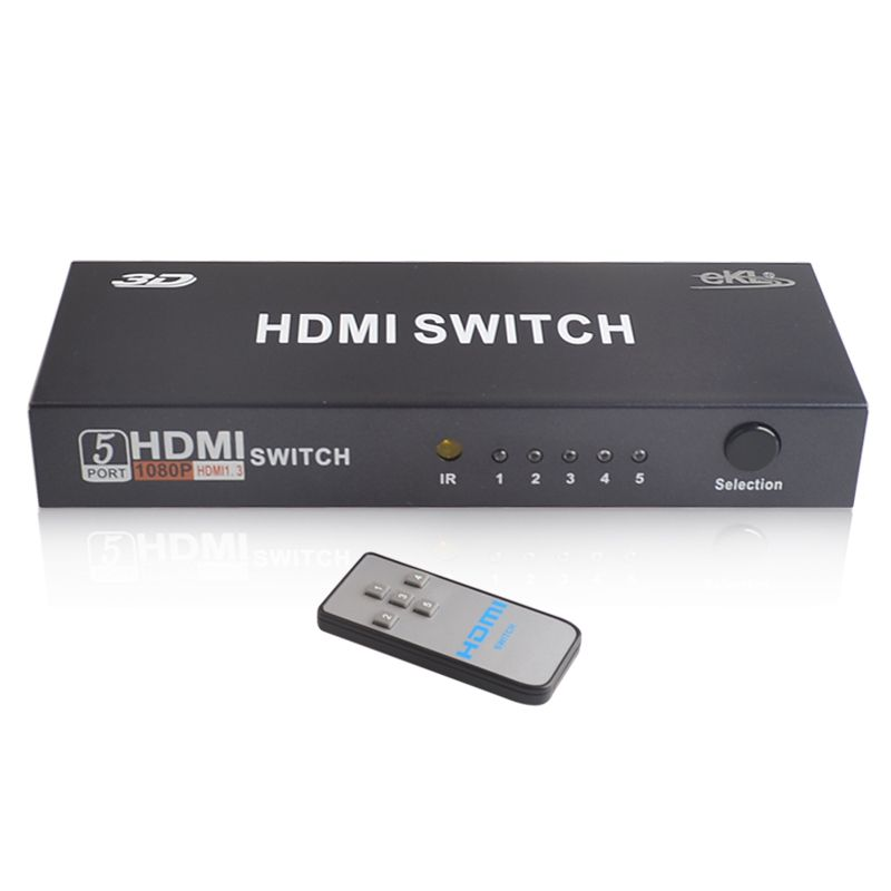 EKL 5 Port 1080P HDMI Switch HDMI Video Switcher Switch 5 in