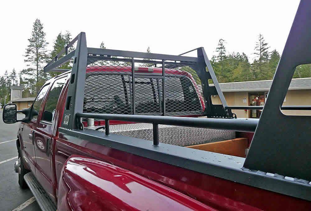 Wildcatter Commercial Duty Truck Rack On Red Ford F 350 Dually Built In Usa By U S Rack Headache Rack Trucks Custom Truck Beds Pickup Trucks