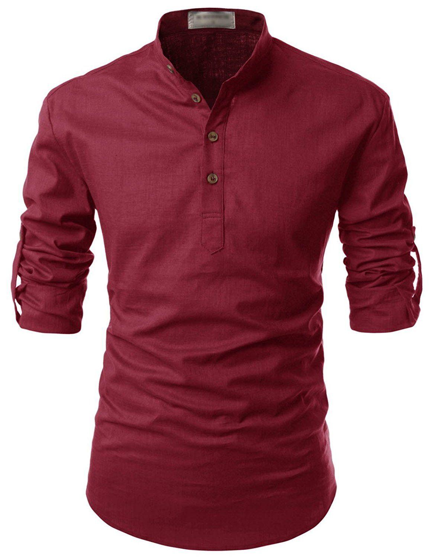 04892f62 NEARKIN Beloved Men Henley Neck Long Sleeve Daily Look Linen Shirts ...