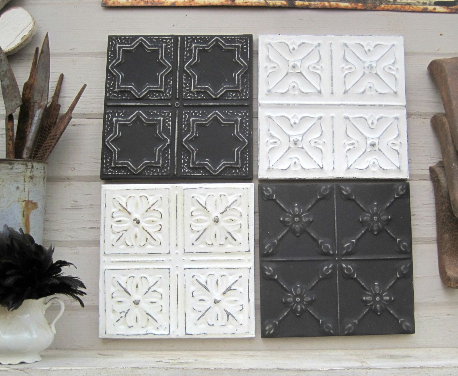 Tin Ceiling Tiles 4 12 X 12 Framed Tiles Vintage Metal Decor Black And White Industrial Pressed Tin Tiles Ar Tin Ceiling Ceiling Tiles Tin Ceiling Tiles
