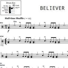 Image Result For Drum Sheet Music For Believer Imagine Dragons