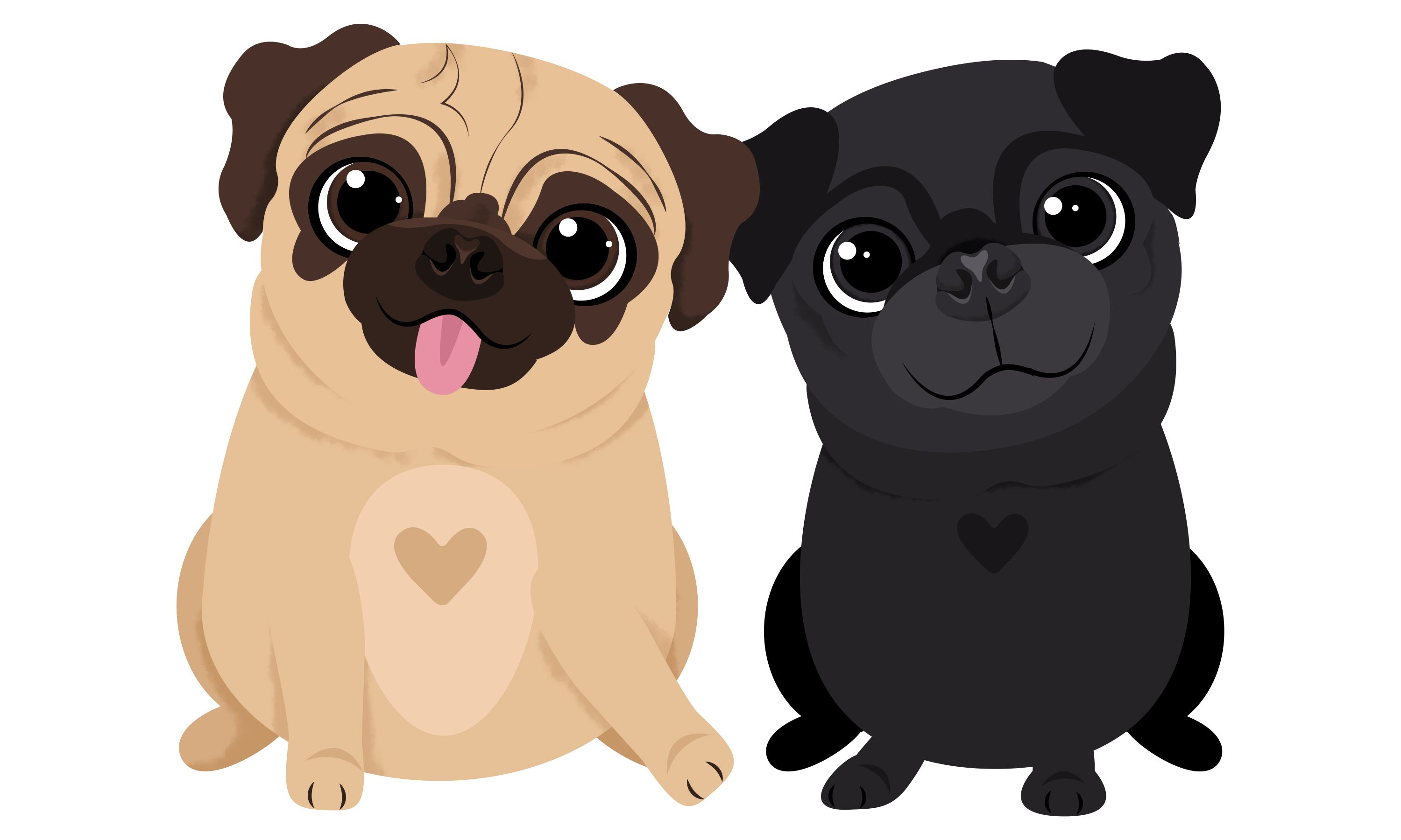 Illustrated fifteen pugs for use in a card game in New