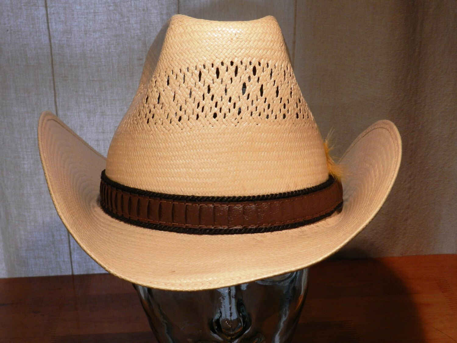 709530e94b28b Stetson Roadrunner Bryantcote Straw Cowboy Hat with Leather Hatband and  Yellow Feather Size 7 1