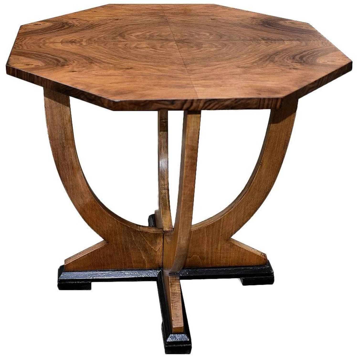 Original English 1930S Art Deco Walnut Occasional Table