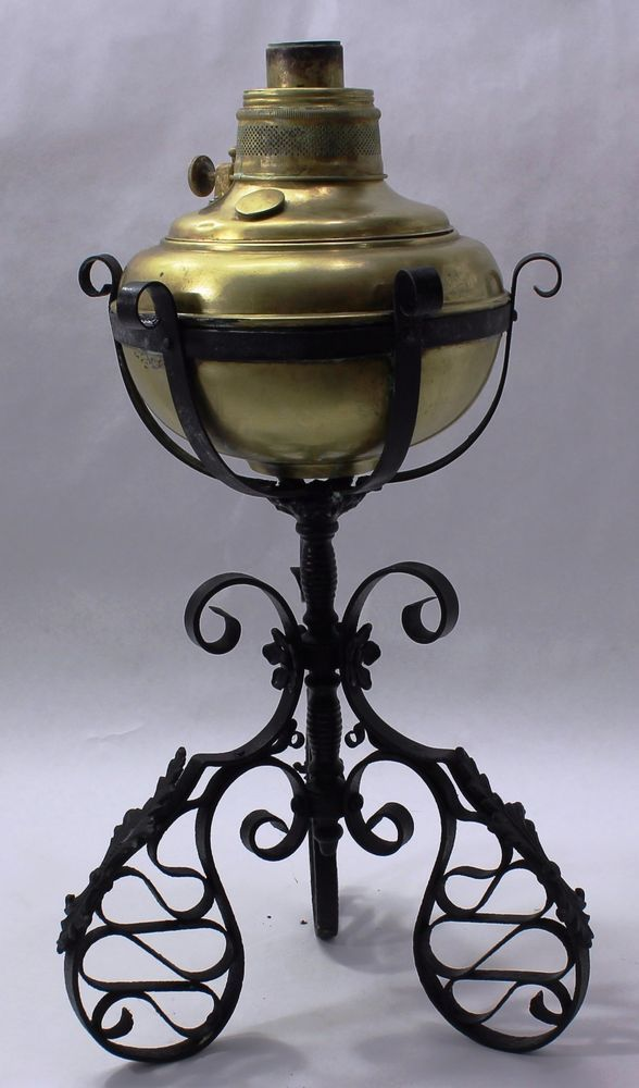 1800 S Antique Vintage Victorian Oil Lamp Wrought Iron And Brass